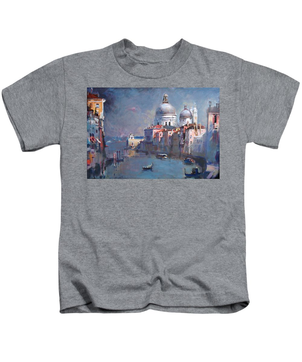 Landscape Kids T-Shirt featuring the painting Grand Canal Venice by Ylli Haruni