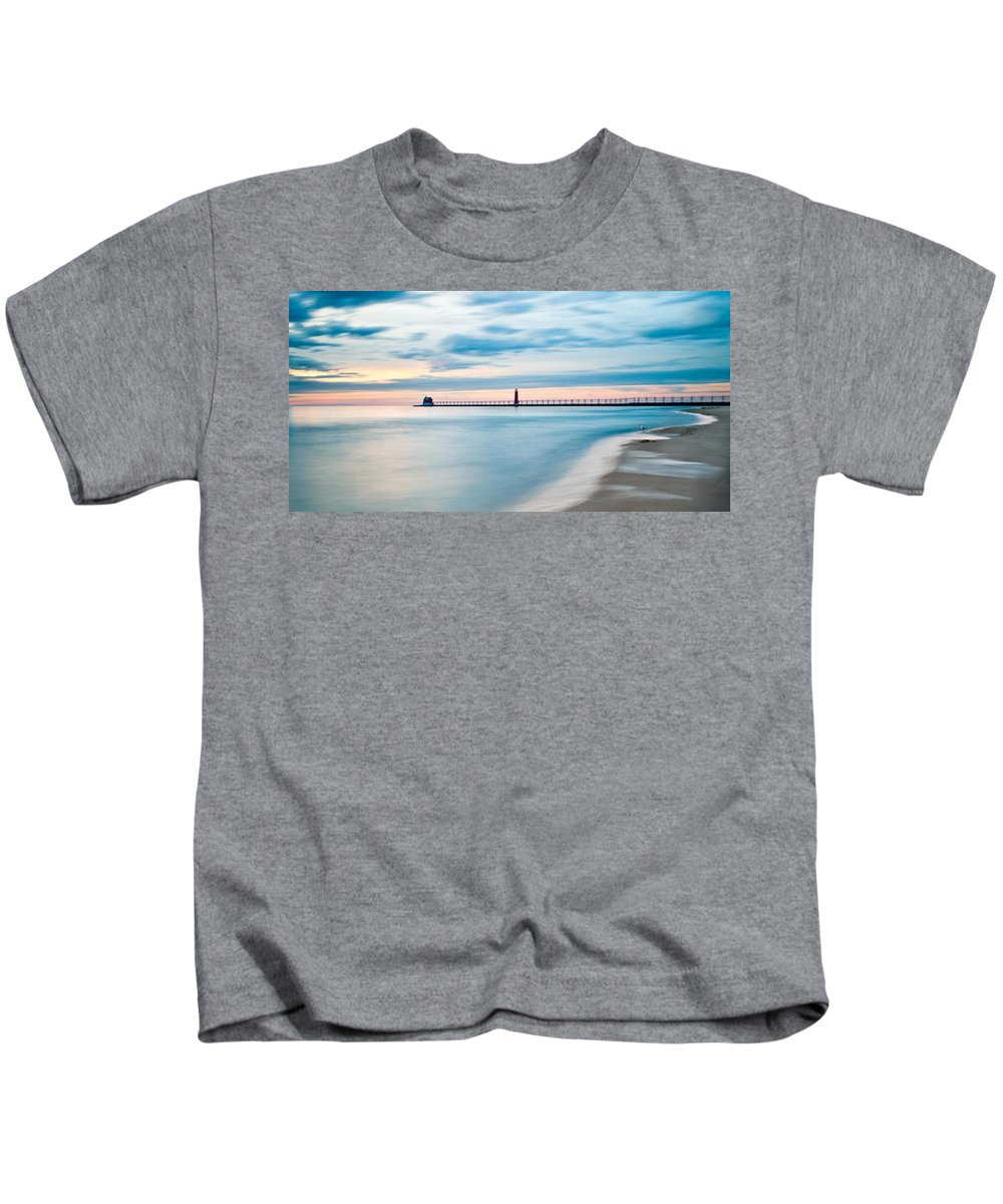 Grand Haven Kids T-Shirt featuring the photograph Grand Haven Pier - Smooth Waters by Larry Carr