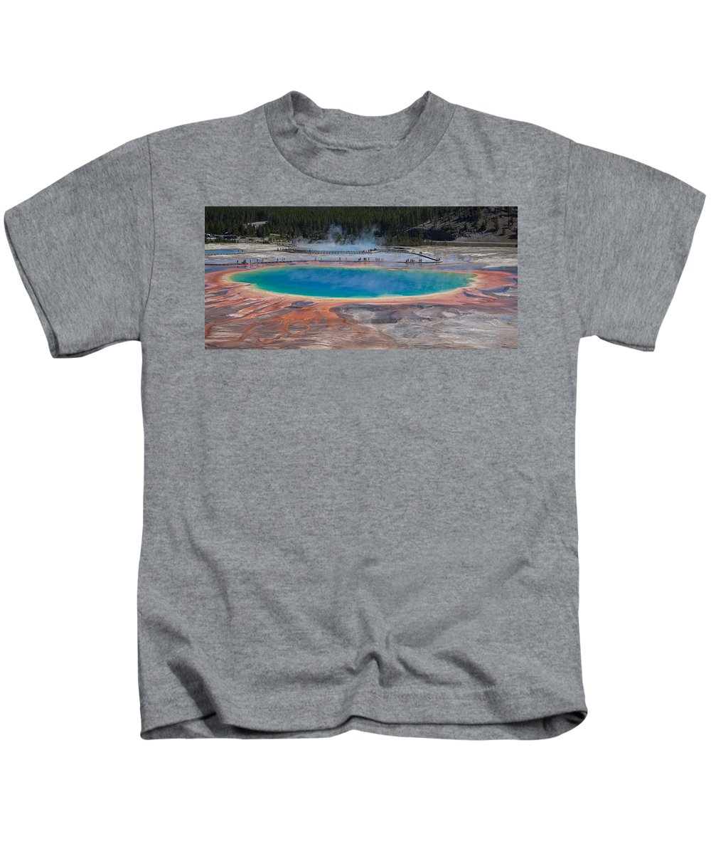 Yellowstone National Park Kids T-Shirt featuring the photograph Grand Prismatic Spring by Ralf Kaiser