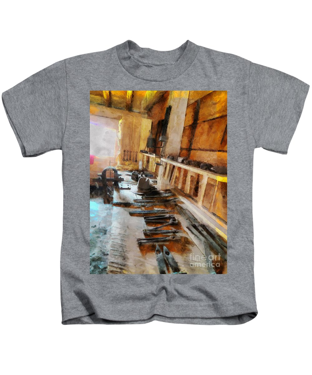 Tools Kids T-Shirt featuring the photograph Grandfather's Tools by Claire Bull