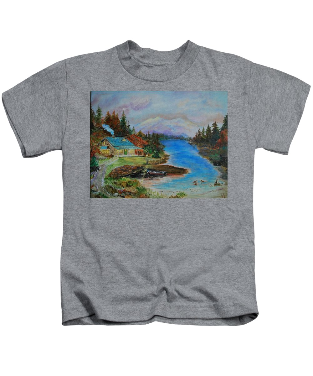 Cabin Painting Kids T-Shirt featuring the painting Grandmas Cabin by Leslie Allen