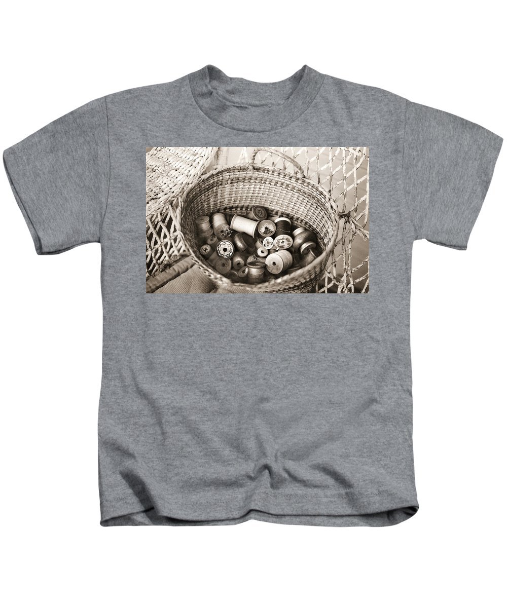 Americana Kids T-Shirt featuring the photograph Grandma's Sewing Basket by Marilyn Hunt