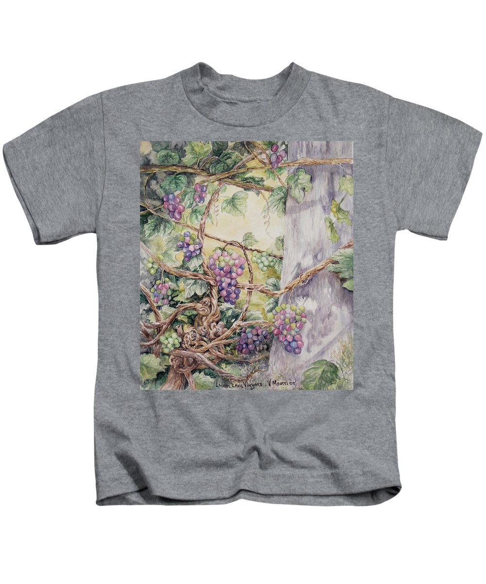 Vines Kids T-Shirt featuring the painting Grapevine Laurel Lakevineyard by Valerie Meotti