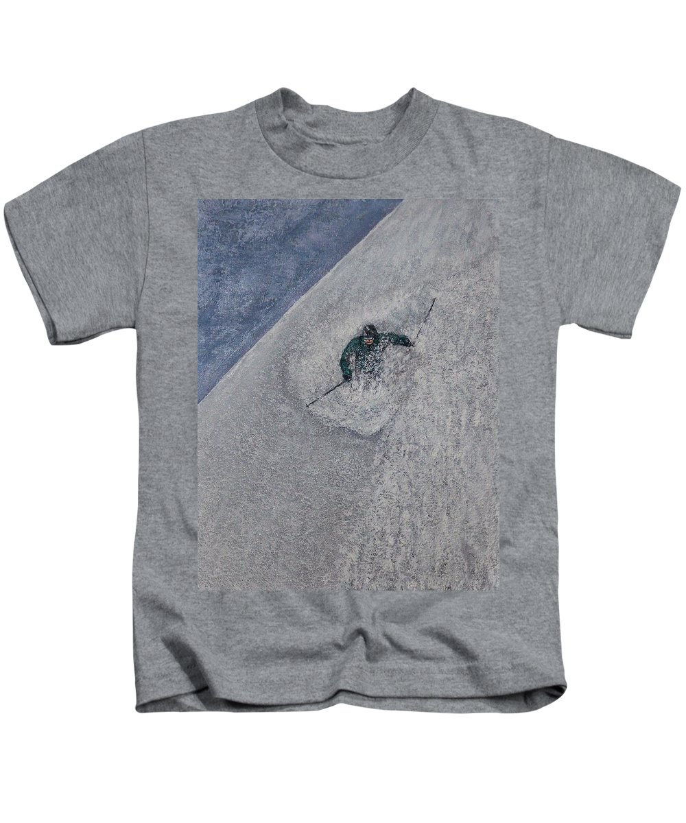 Ski Kids T-Shirt featuring the painting Gravity by Michael Cuozzo