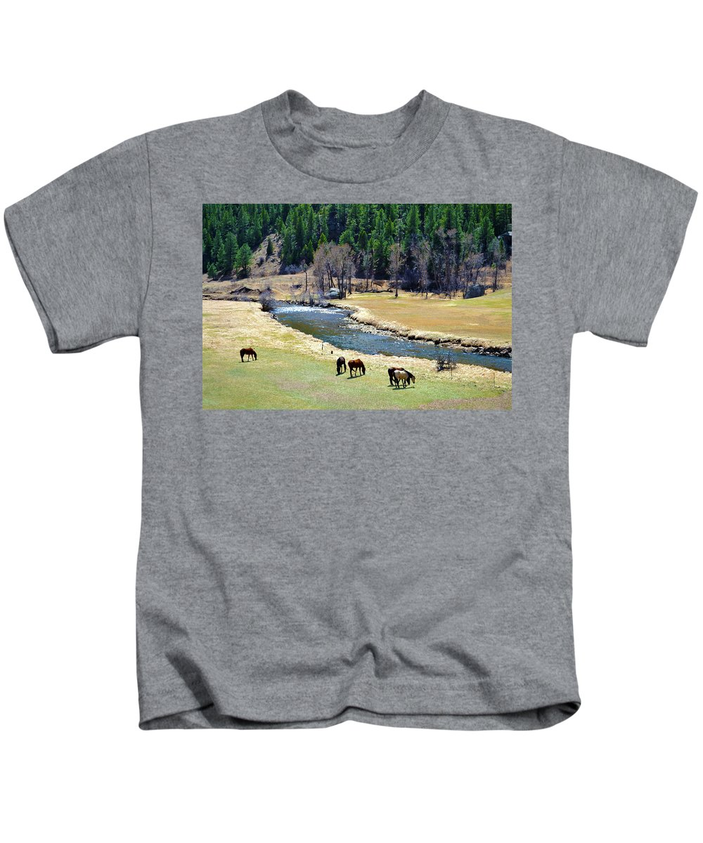 Colorado Kids T-Shirt featuring the mixed media Grazing by Angelina Vick
