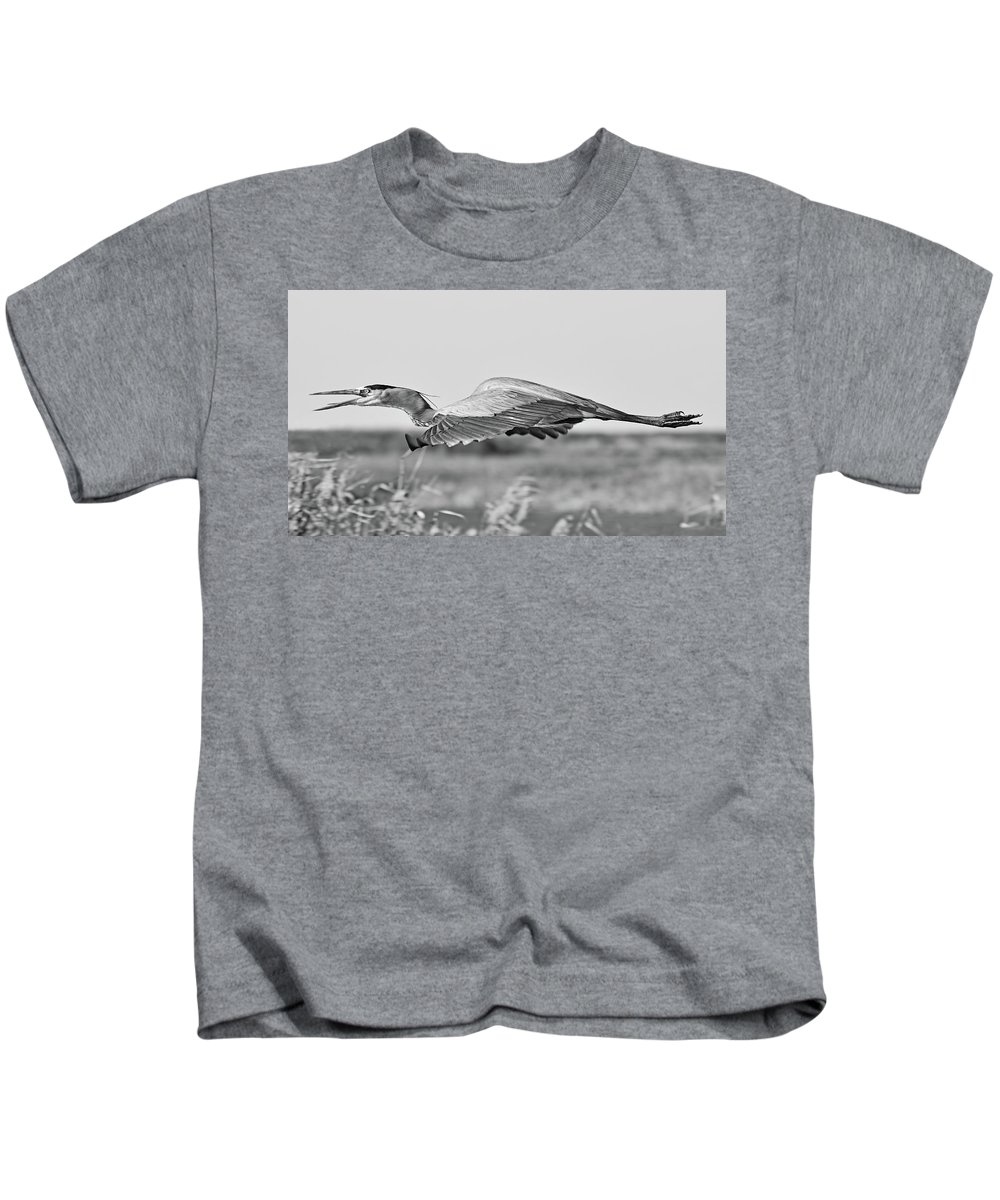 Bird Kids T-Shirt featuring the photograph Great Blue Egret In Flight by Lindy Pollard