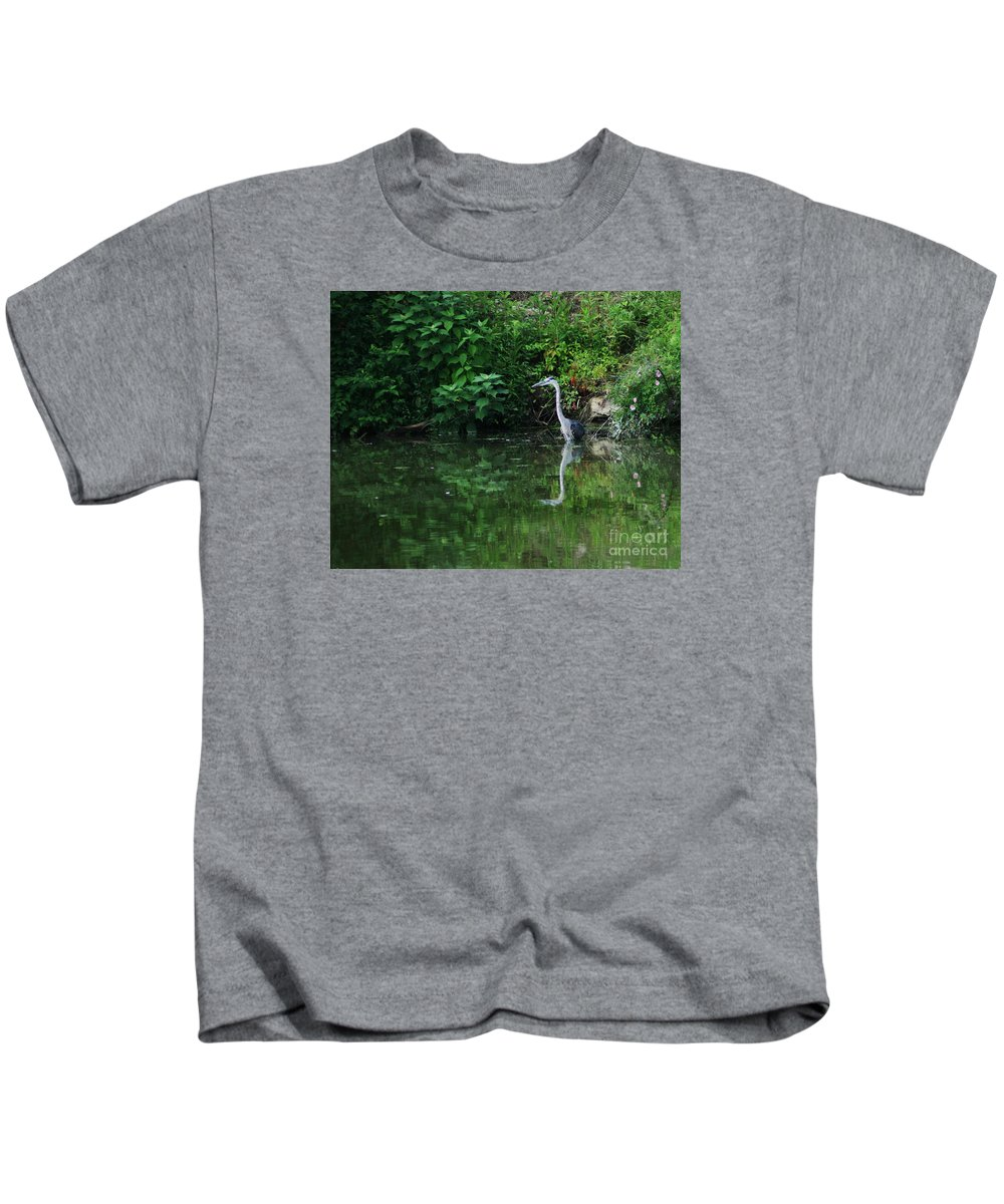 Lanscape Water Bird Crane Heron Blue Green Flowers Great Photograph Kids T-Shirt featuring the photograph Great Blue Heron Hunting Fish by Dawn Downour