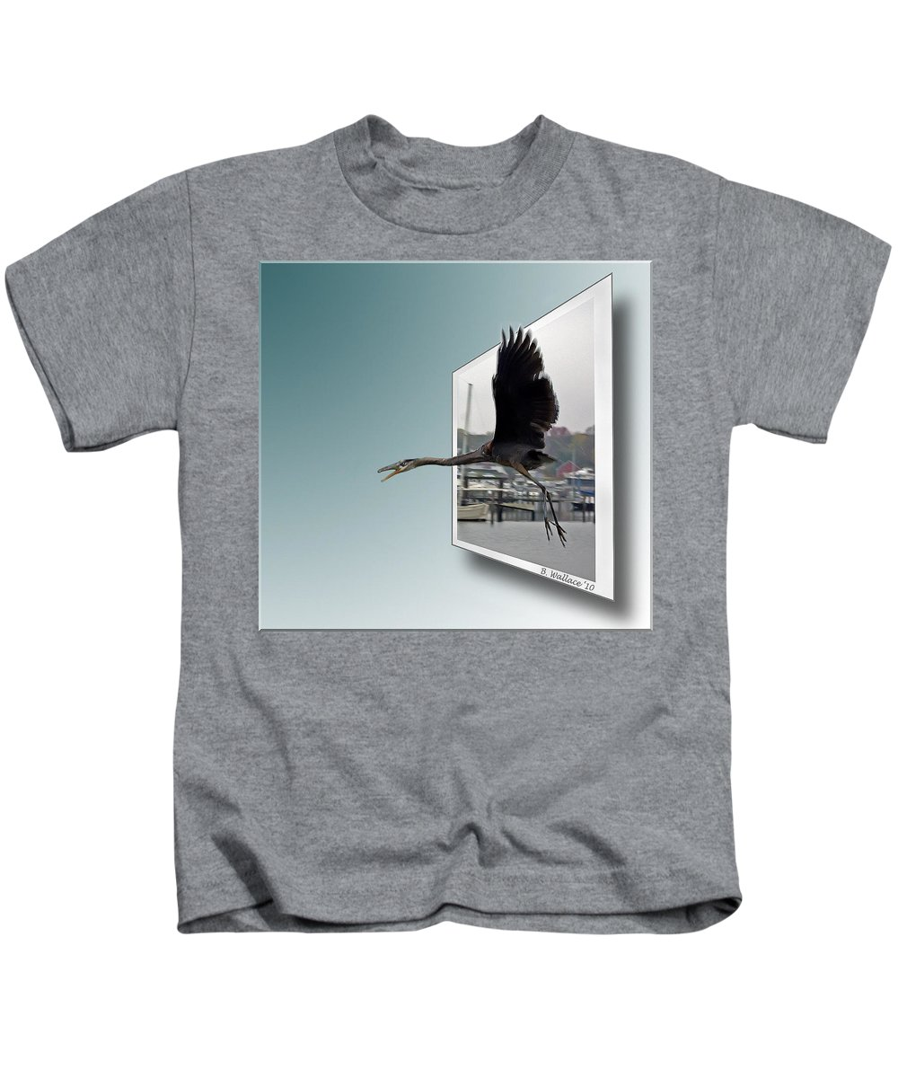 2d Kids T-Shirt featuring the photograph Great Blue Heron In Flight by Brian Wallace