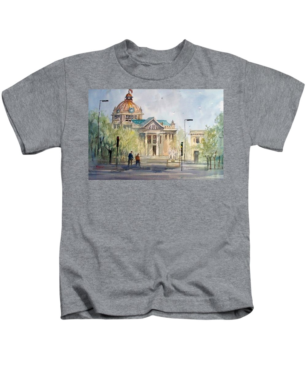 Watercolor Kids T-Shirt featuring the painting Green Bay Courthouse by Ryan Radke