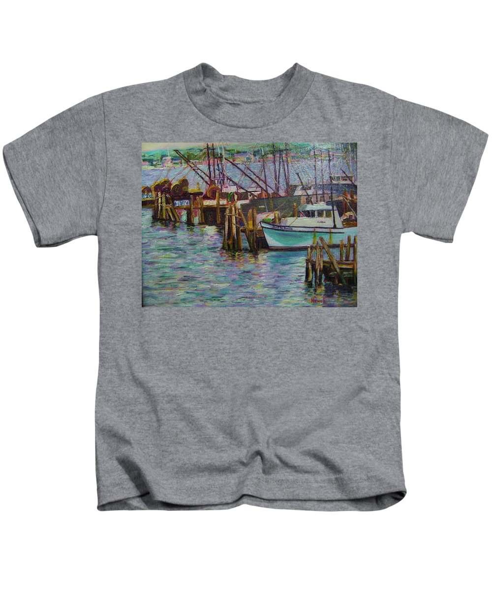 Boat Kids T-Shirt featuring the painting Green Boat At Rest- Nova Scotia by Richard Nowak