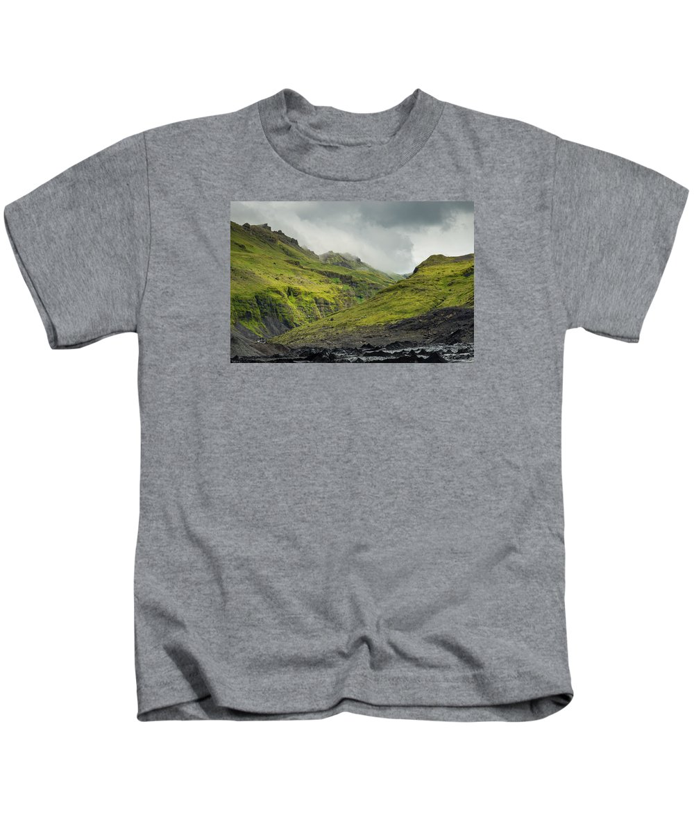 Solheomajokull Kids T-Shirt featuring the photograph Green Canyon by Claudio Bergero