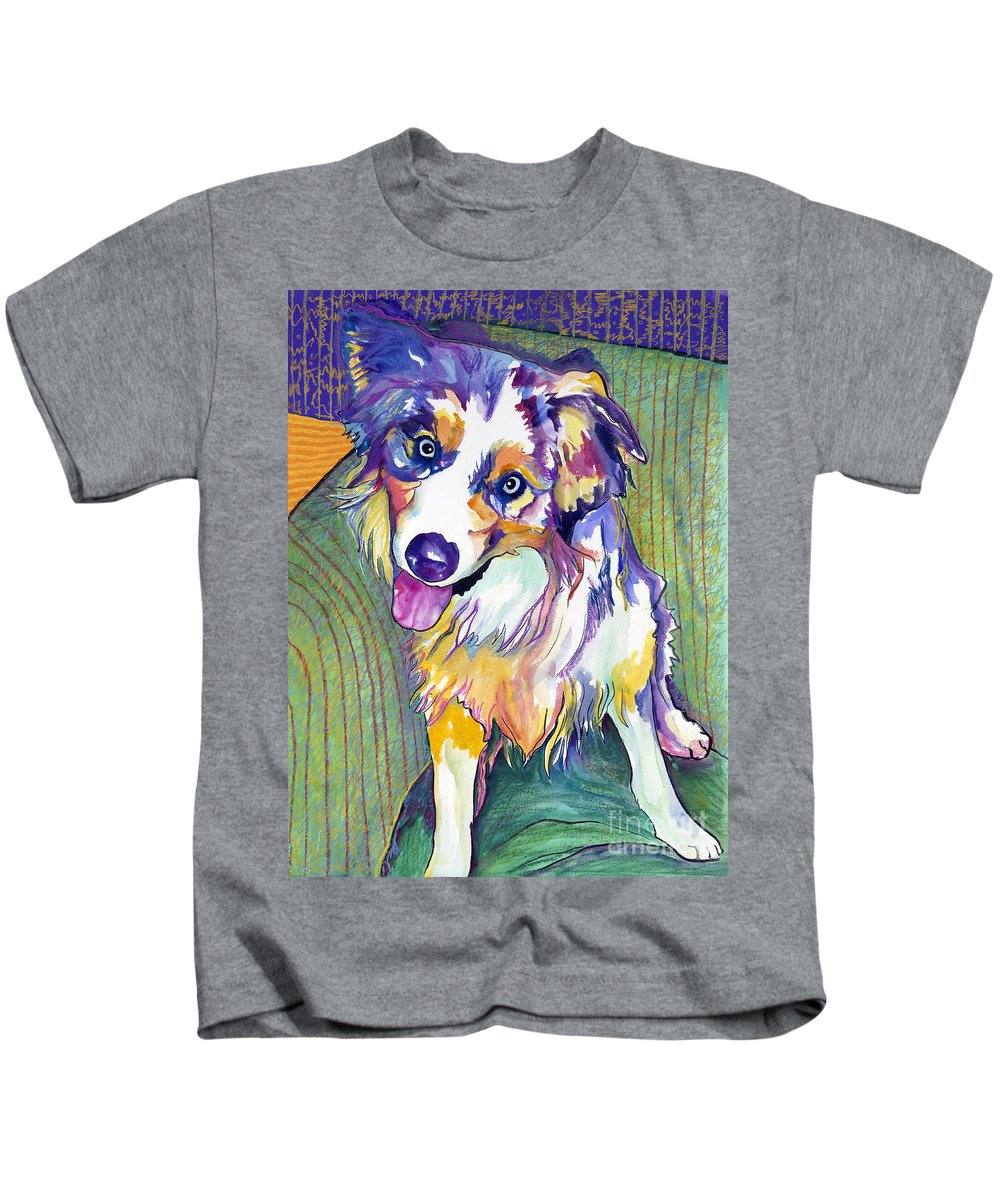 Pat Saunders-white Kids T-Shirt featuring the painting Green Couch  by Pat Saunders-White