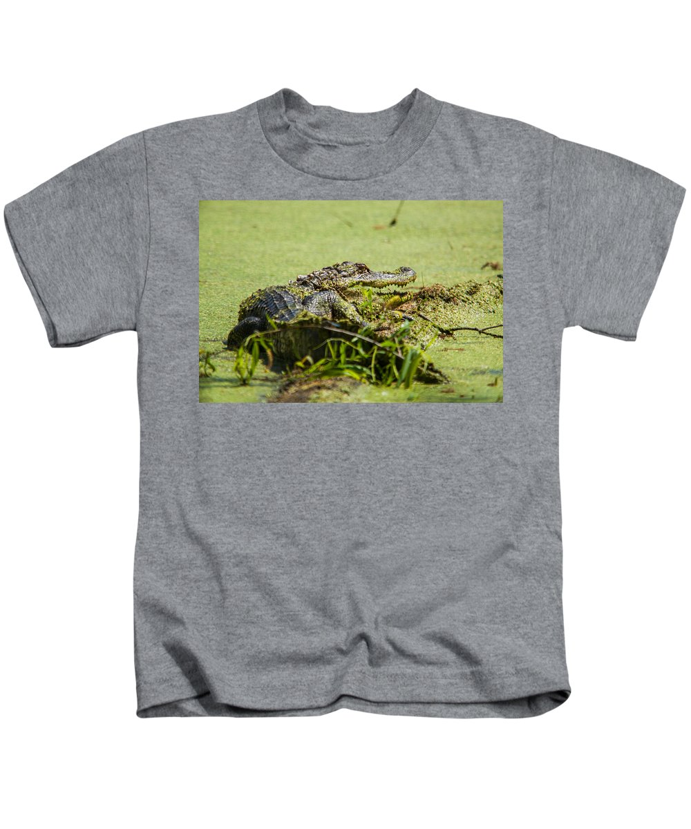 Atchafalaya Kids T-Shirt featuring the photograph Green Gator by Bonnie Marquette