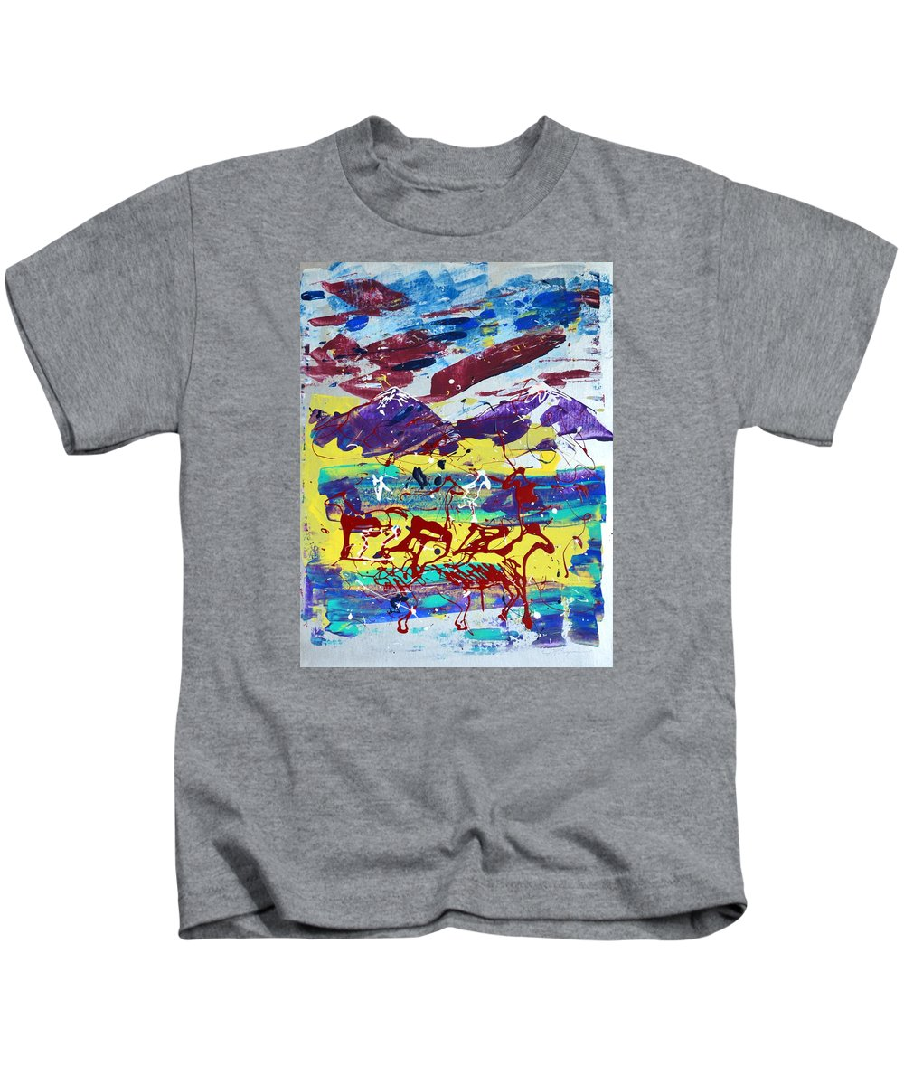 Horses Grazing Kids T-Shirt featuring the painting Green Pastures And Purple Mountains by J R Seymour