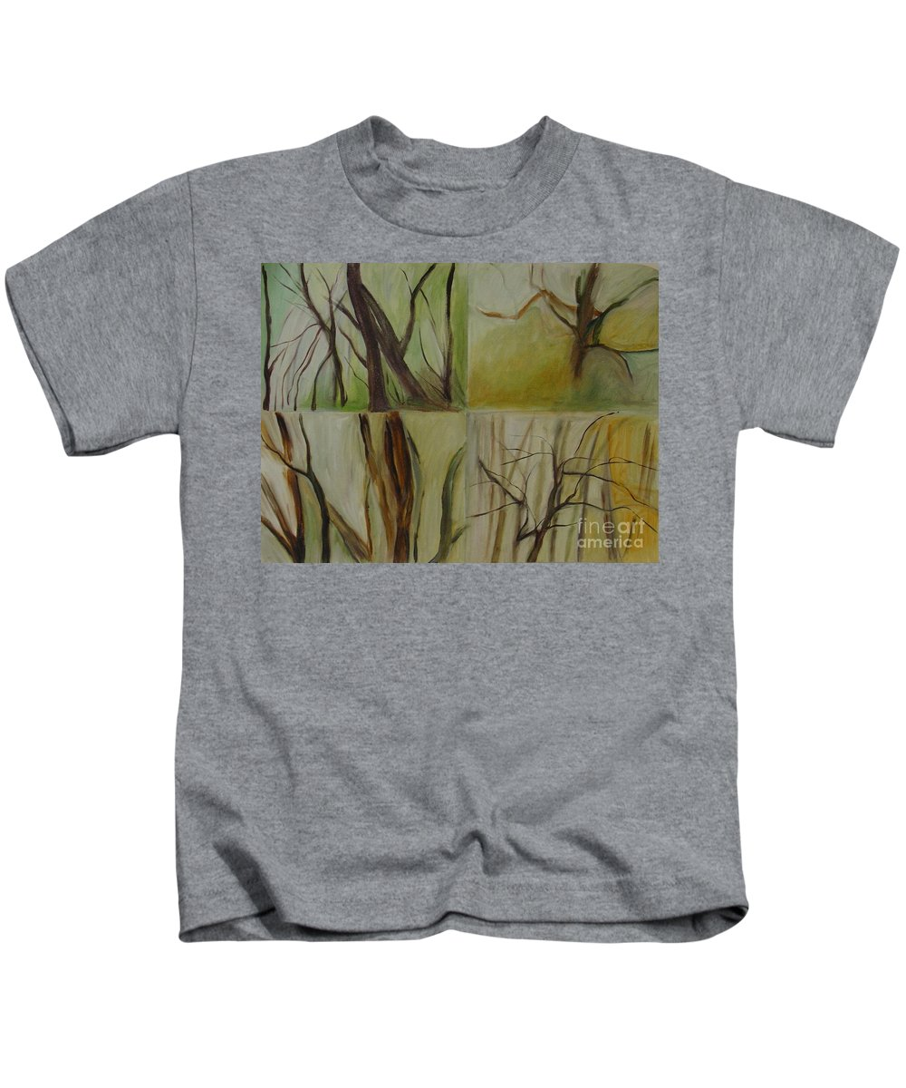 Spring Young Trees Saplings Trees Kids T-Shirt featuring the painting Green Sonnet by Leila Atkinson
