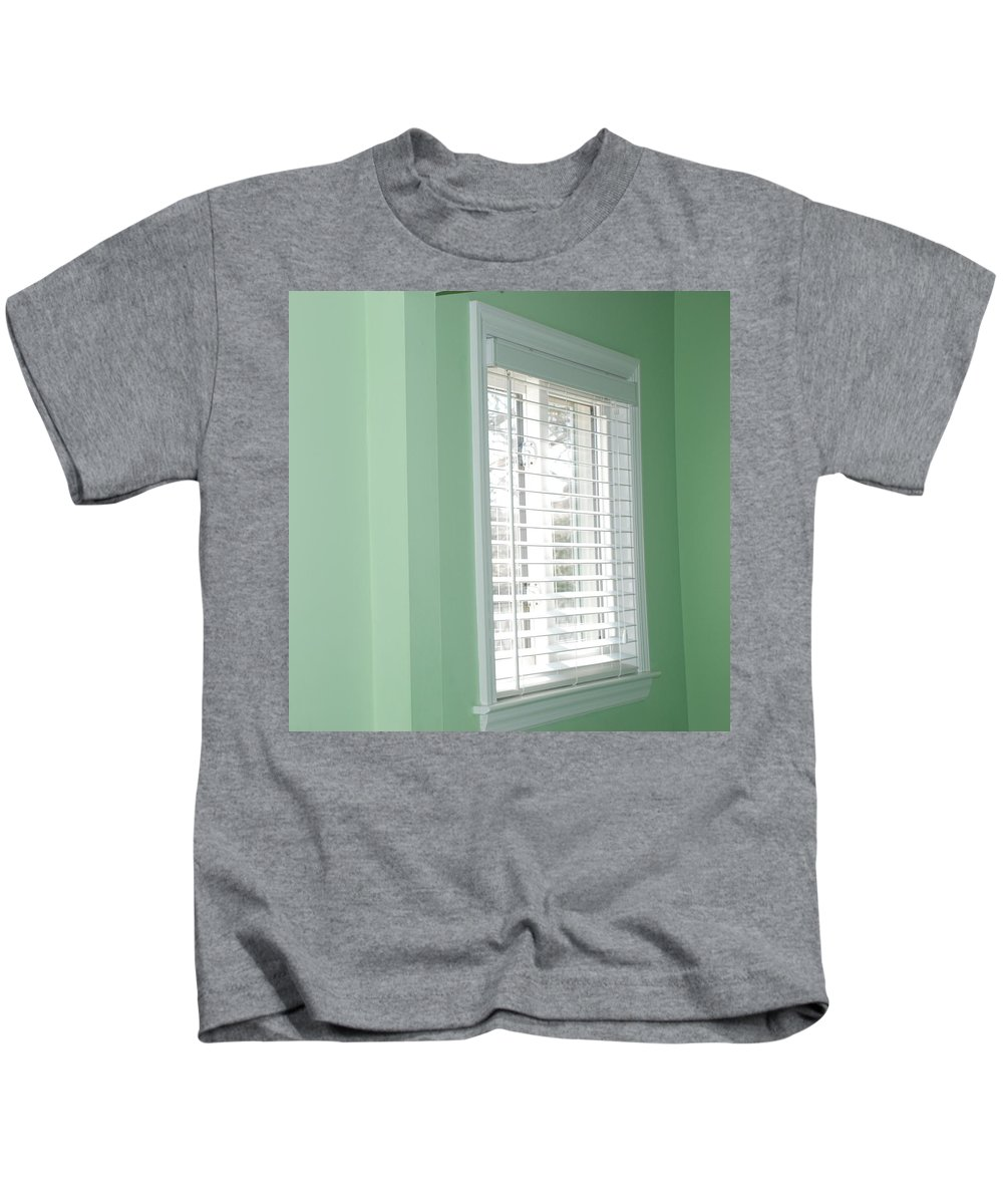 Architecture Kids T-Shirt featuring the photograph Green Wall White Window by Rob Hans