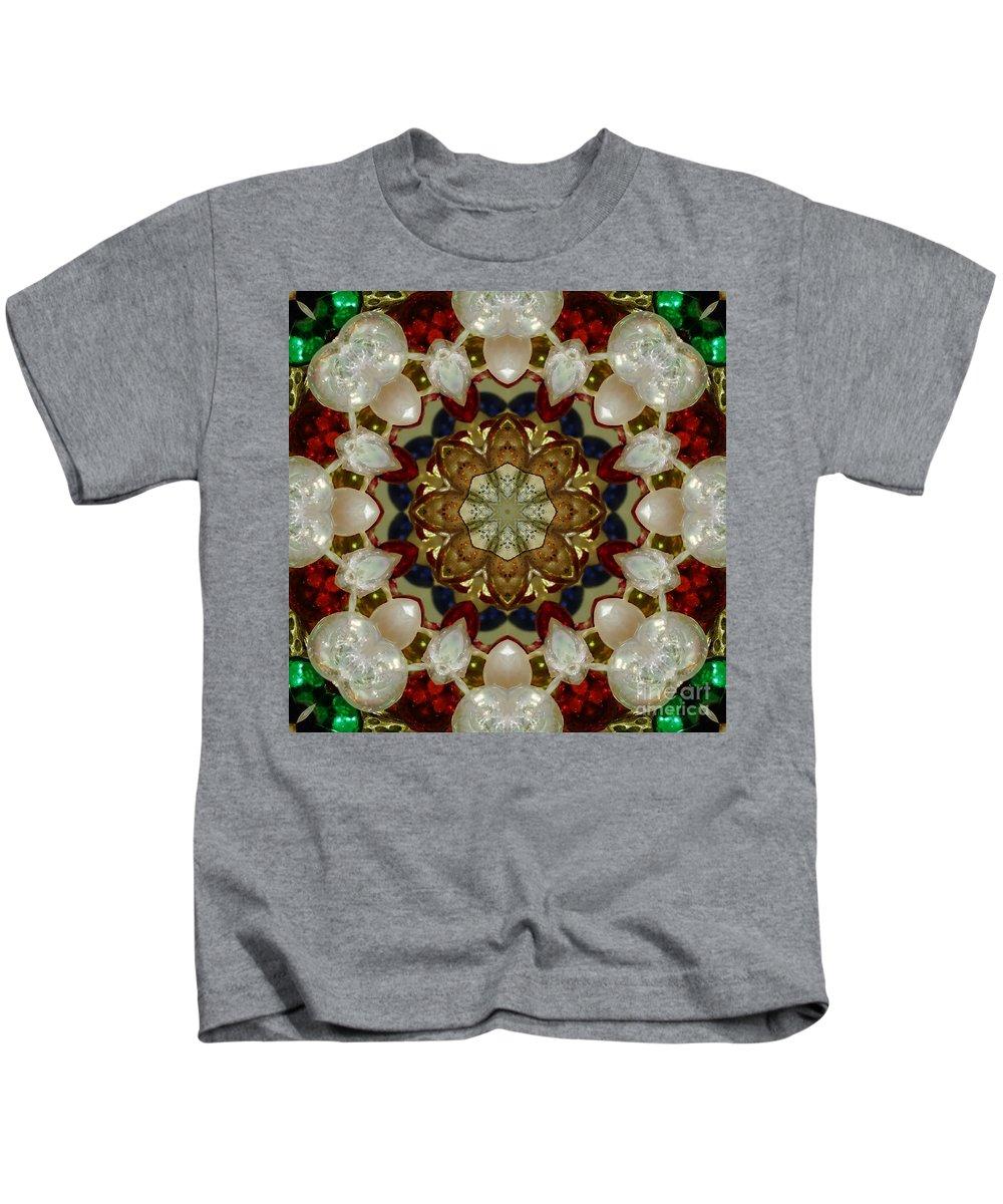 Green Kids T-Shirt featuring the digital art Green White Red Blue Kaleidoscope 1 by Chandra Nyleen