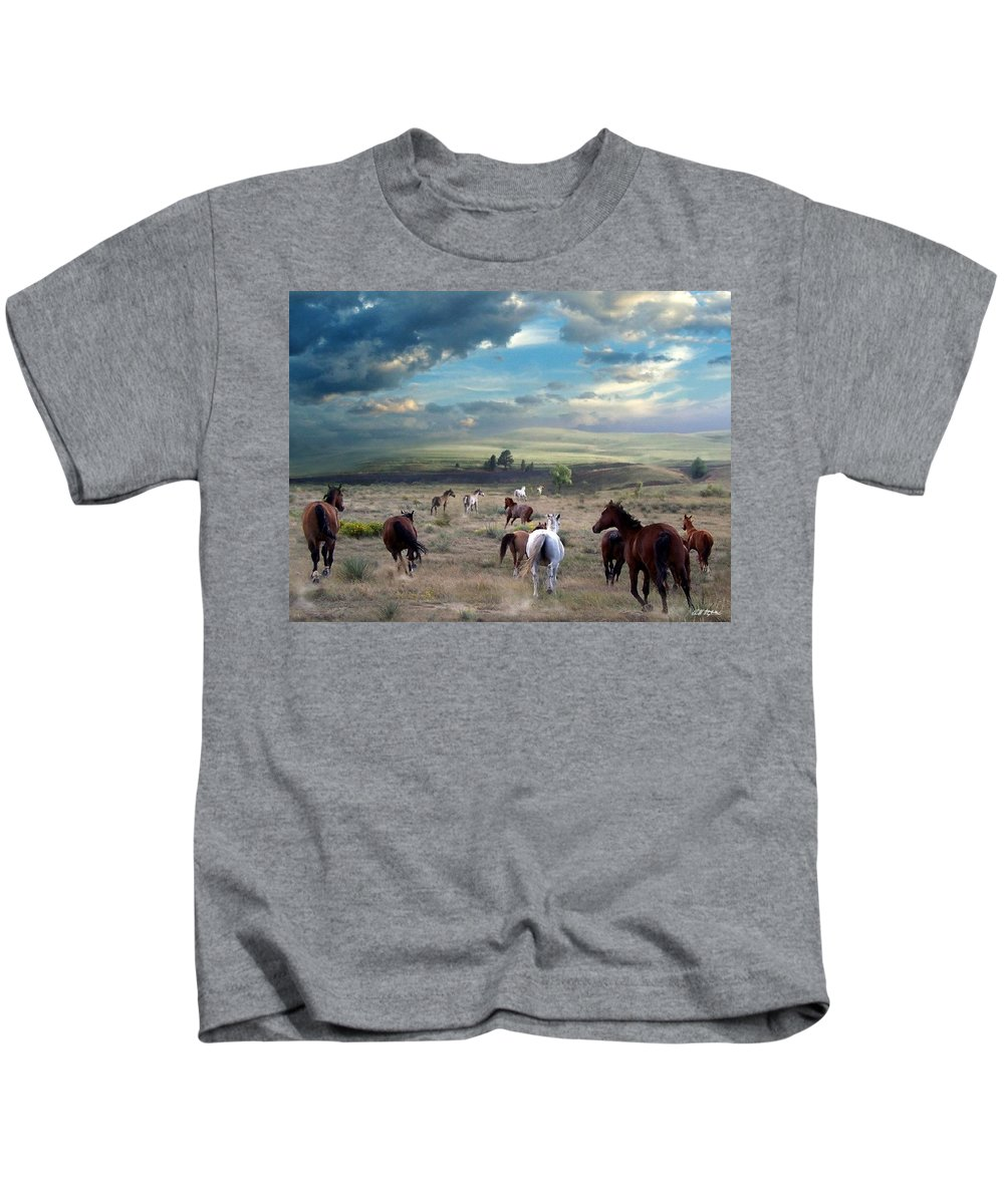 Horses Kids T-Shirt featuring the mixed media Greener Pastures by Bill Stephens