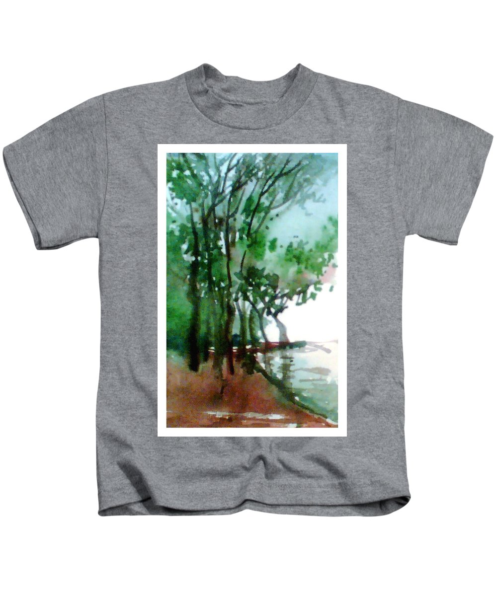 Water Color Kids T-Shirt featuring the painting Greens by Anil Nene