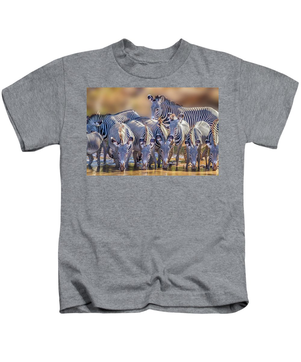 Africa Kids T-Shirt featuring the photograph Grevy Zebra Party 7528 by Karen Celella