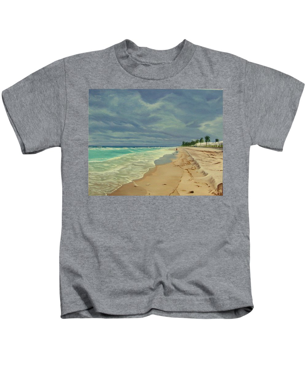 Beach Kids T-Shirt featuring the painting Grey Day On The Beach by Lea Novak