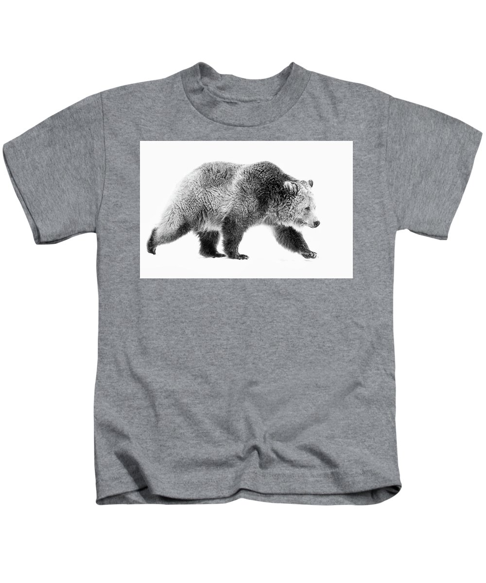 Grizzly Kids T-Shirt featuring the photograph Griz On The Run by Athena Mckinzie