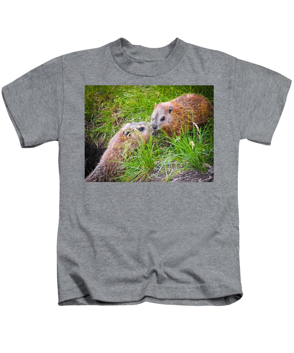 Groundhog Kids T-Shirt featuring the photograph Groundhog Mother Love by Alex Papp