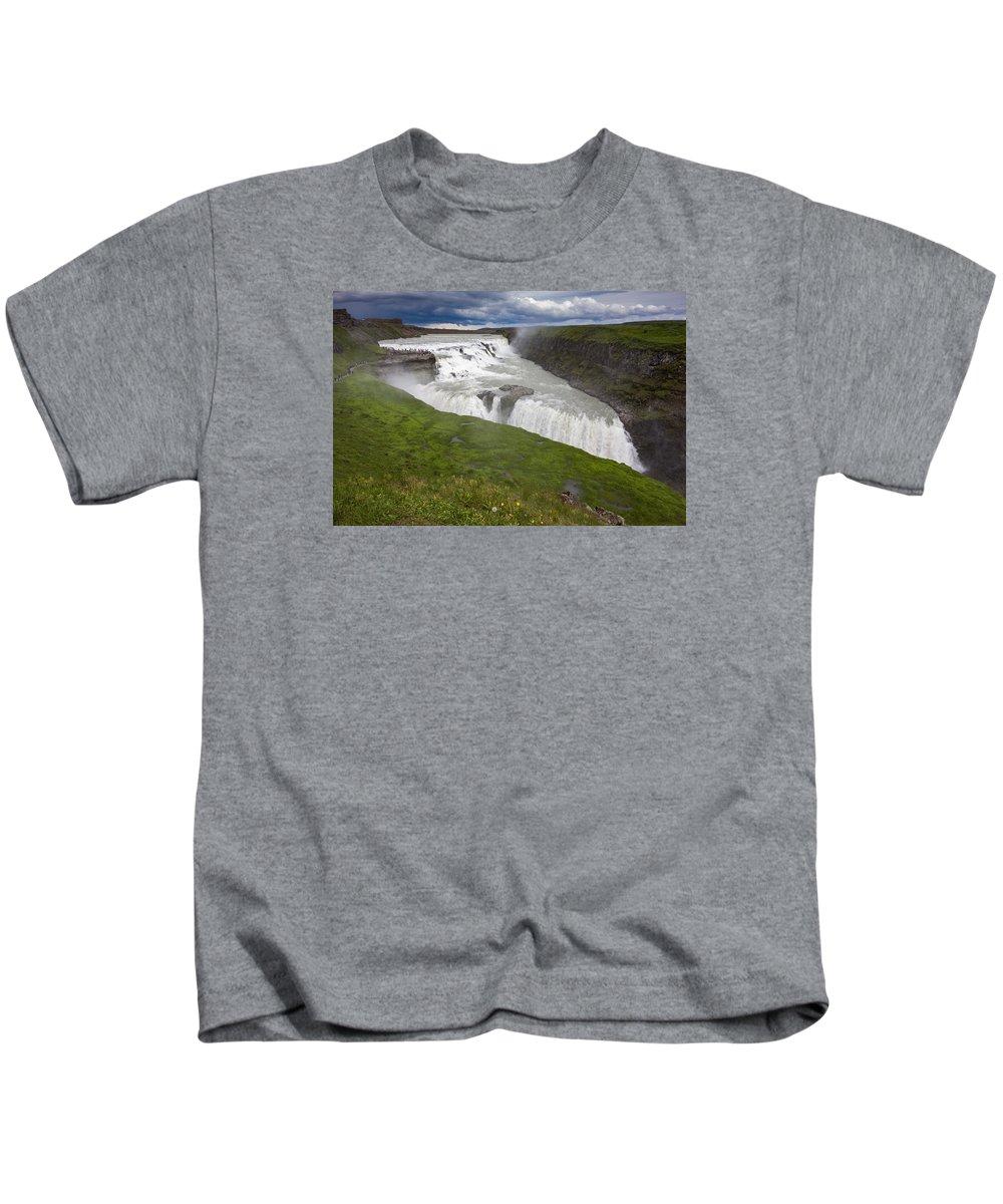 Gullfoss Kids T-Shirt featuring the photograph Gullfoss by Claudio Bergero