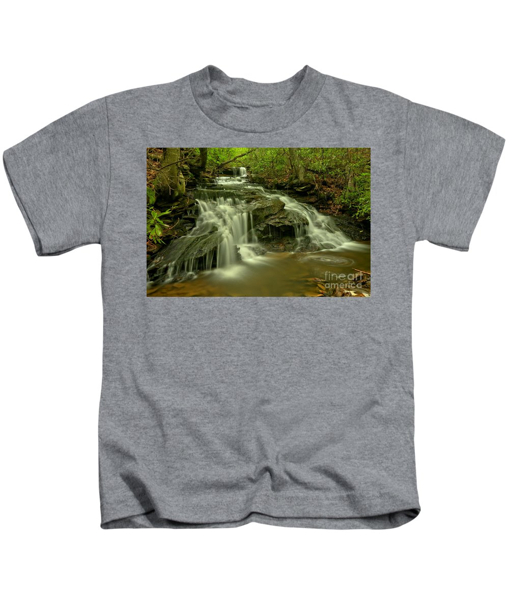 Forbes State Forest Kids T-Shirt featuring the photograph Gushing At Cave Falls by Adam Jewell