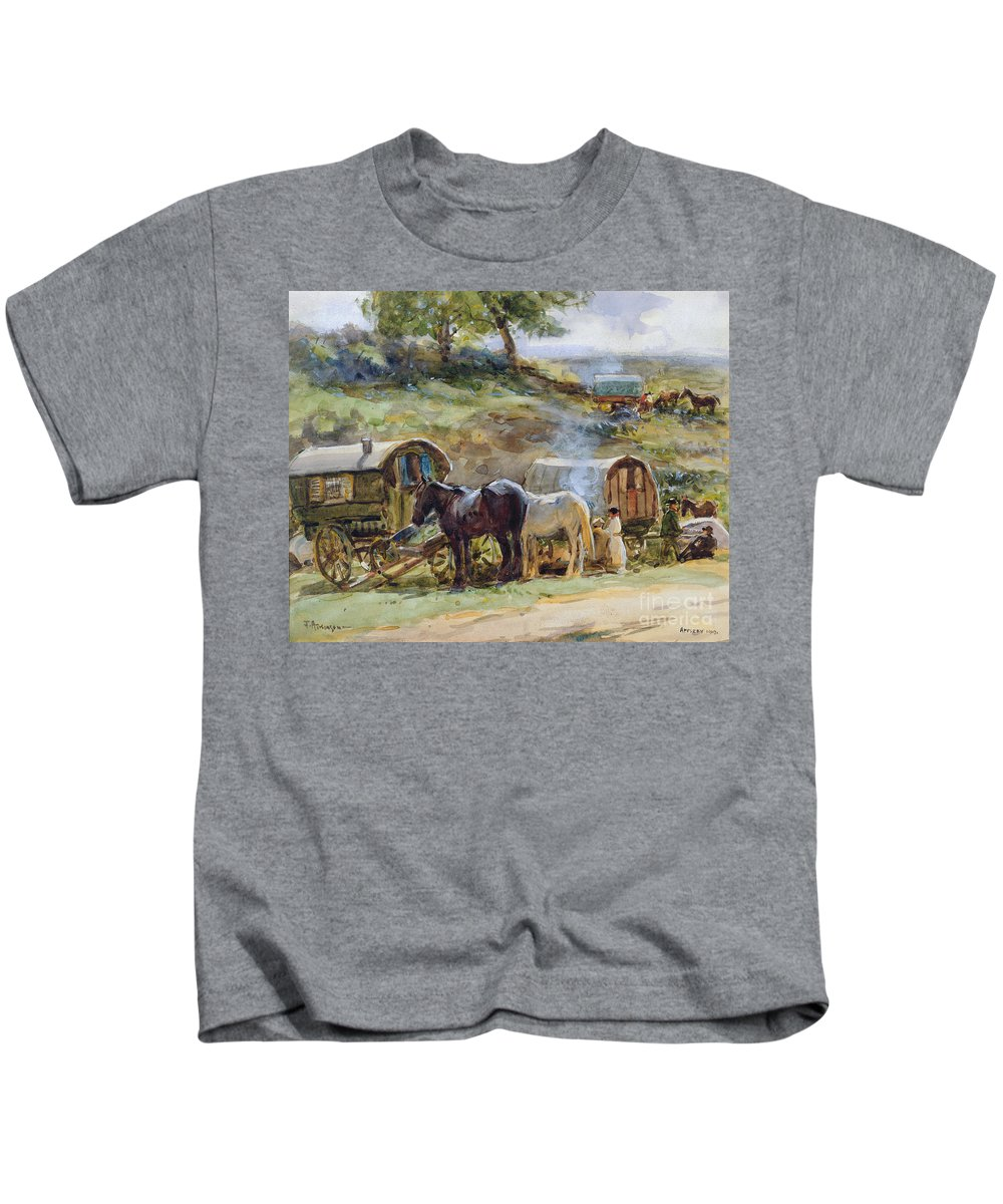 Gypsy Kids T-Shirt featuring the painting Gypsy Encampment by John Atkinson