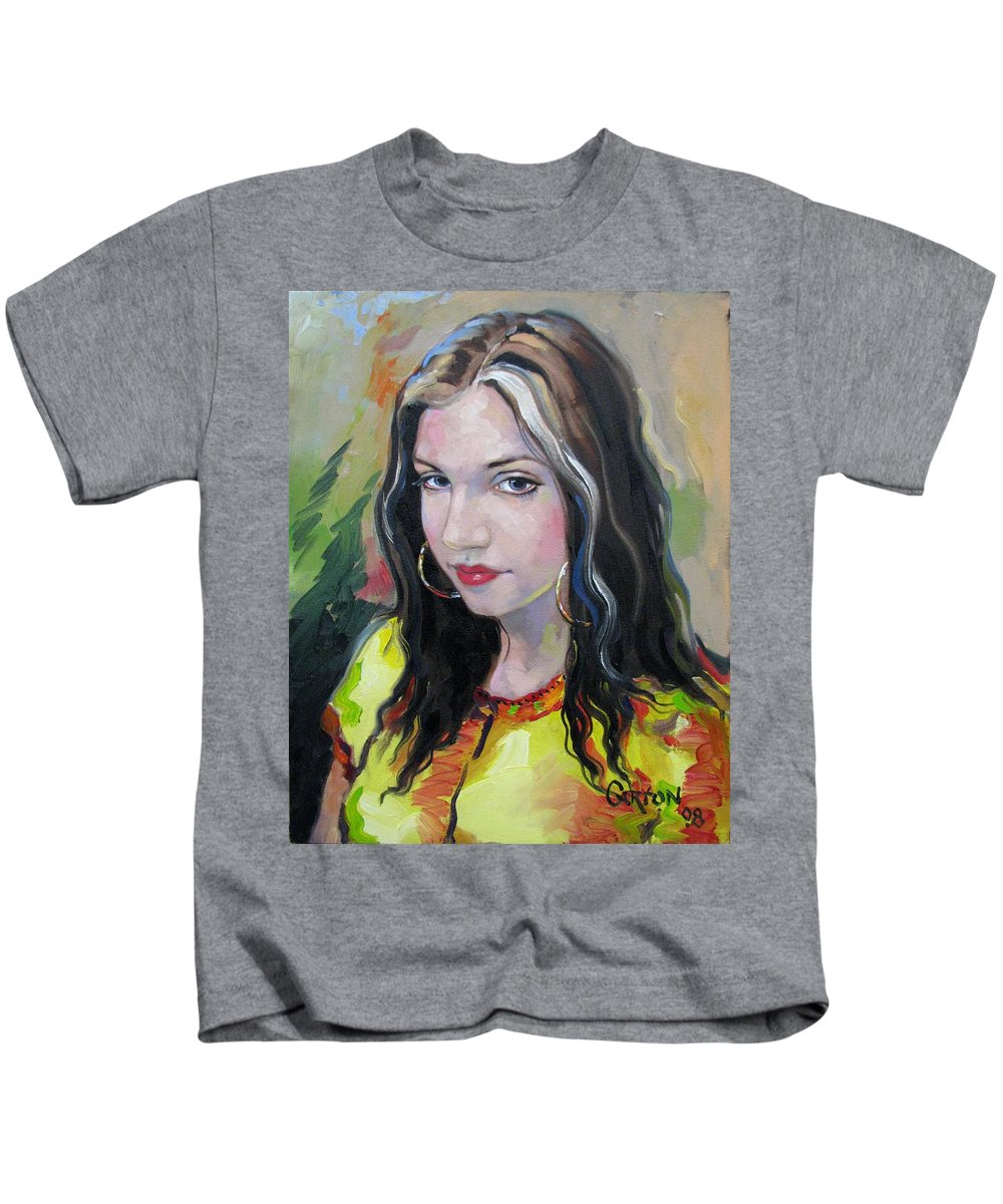 Gypsy Kids T-Shirt featuring the painting Gypsy Girl by Jerrold Carton