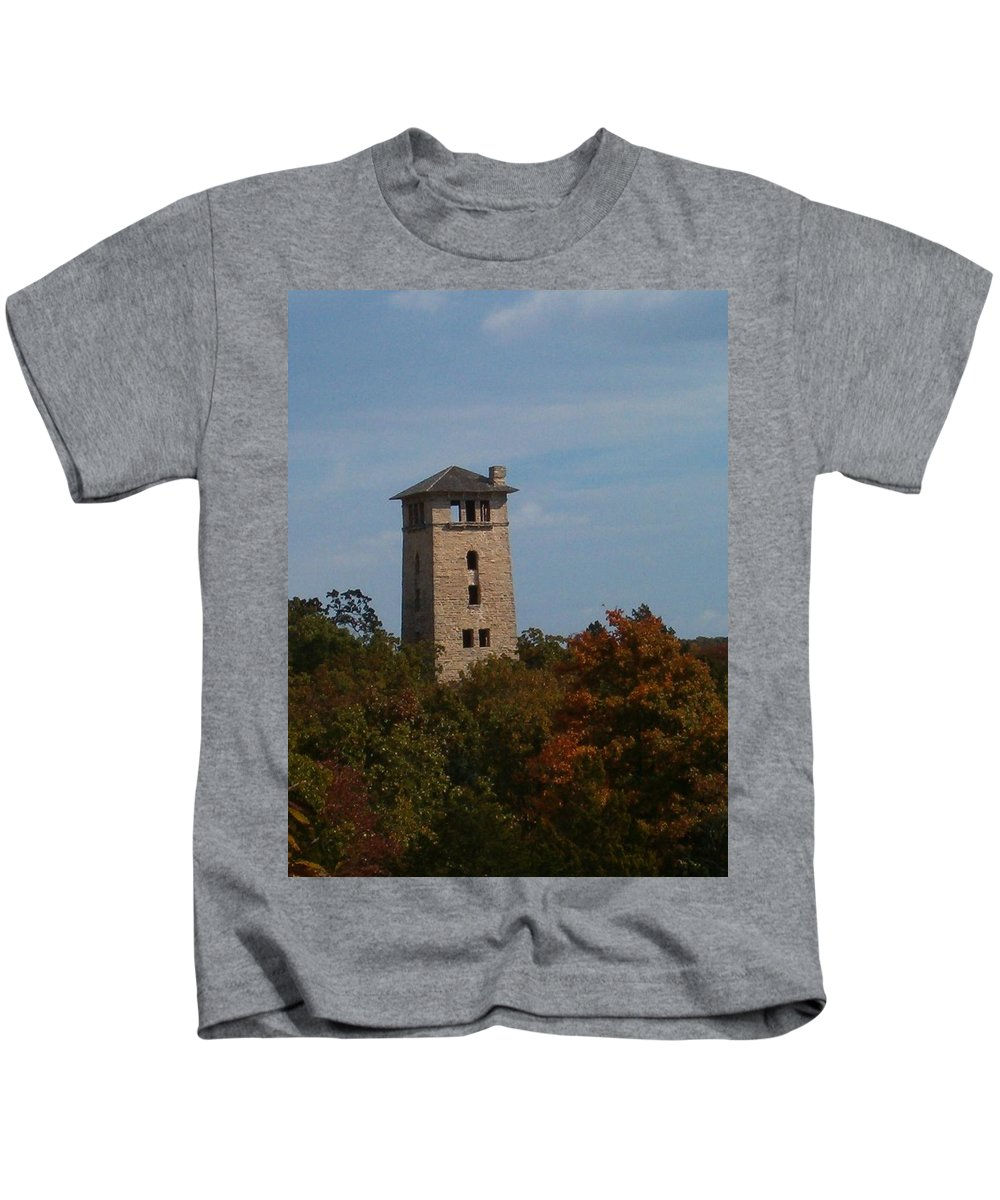 Water Tower Kids T-Shirt featuring the photograph Ha Ha Tonka Water Tower by Sara Raber