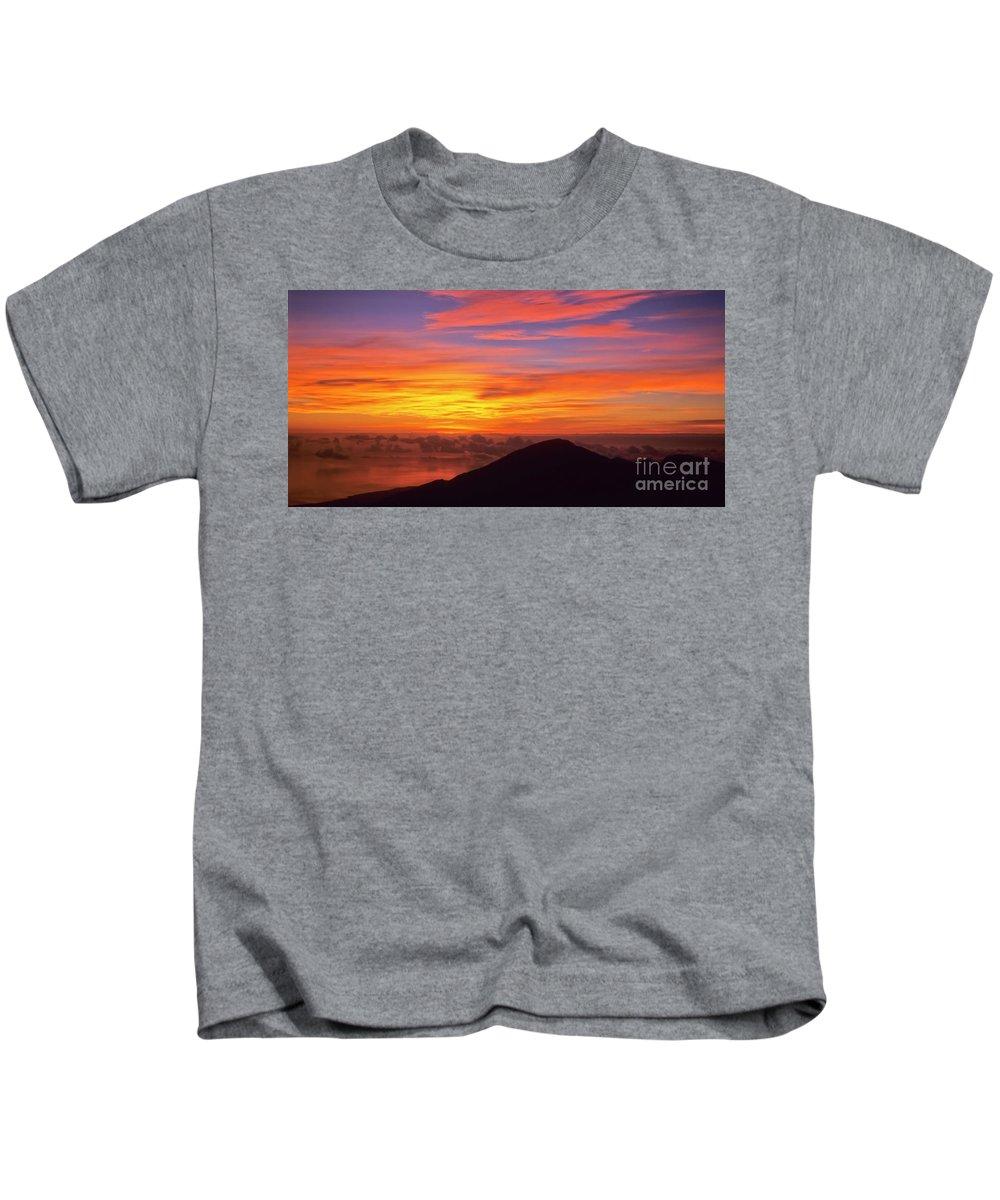 Nature Kids T-Shirt featuring the photograph Haleakala Sunrise Colors IIi by Jim Cazel