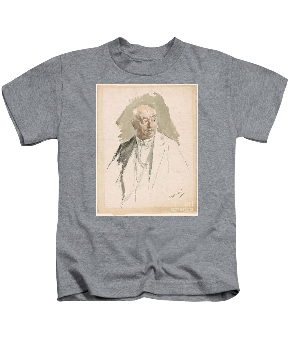 Giovanni Boldini 1842-1931 Half-length Study Of An Elderly Man In Evening Dress. Kids T-Shirt featuring the painting Half Length Study Of An Elderly Man In Evening Dress by MotionAge Designs