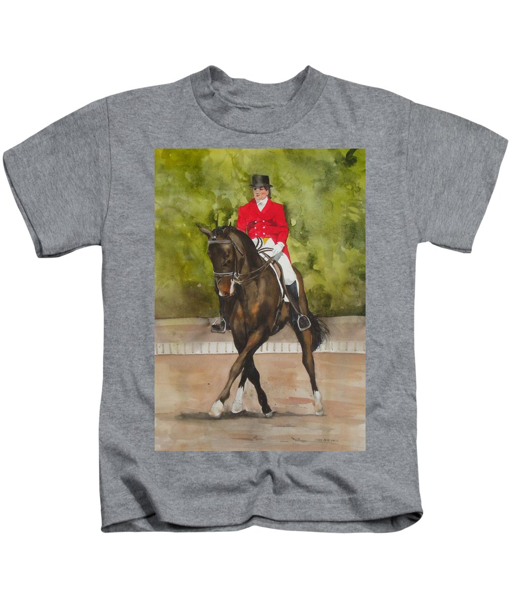 Horse Kids T-Shirt featuring the painting Half-Pass To The Right by Jean Blackmer