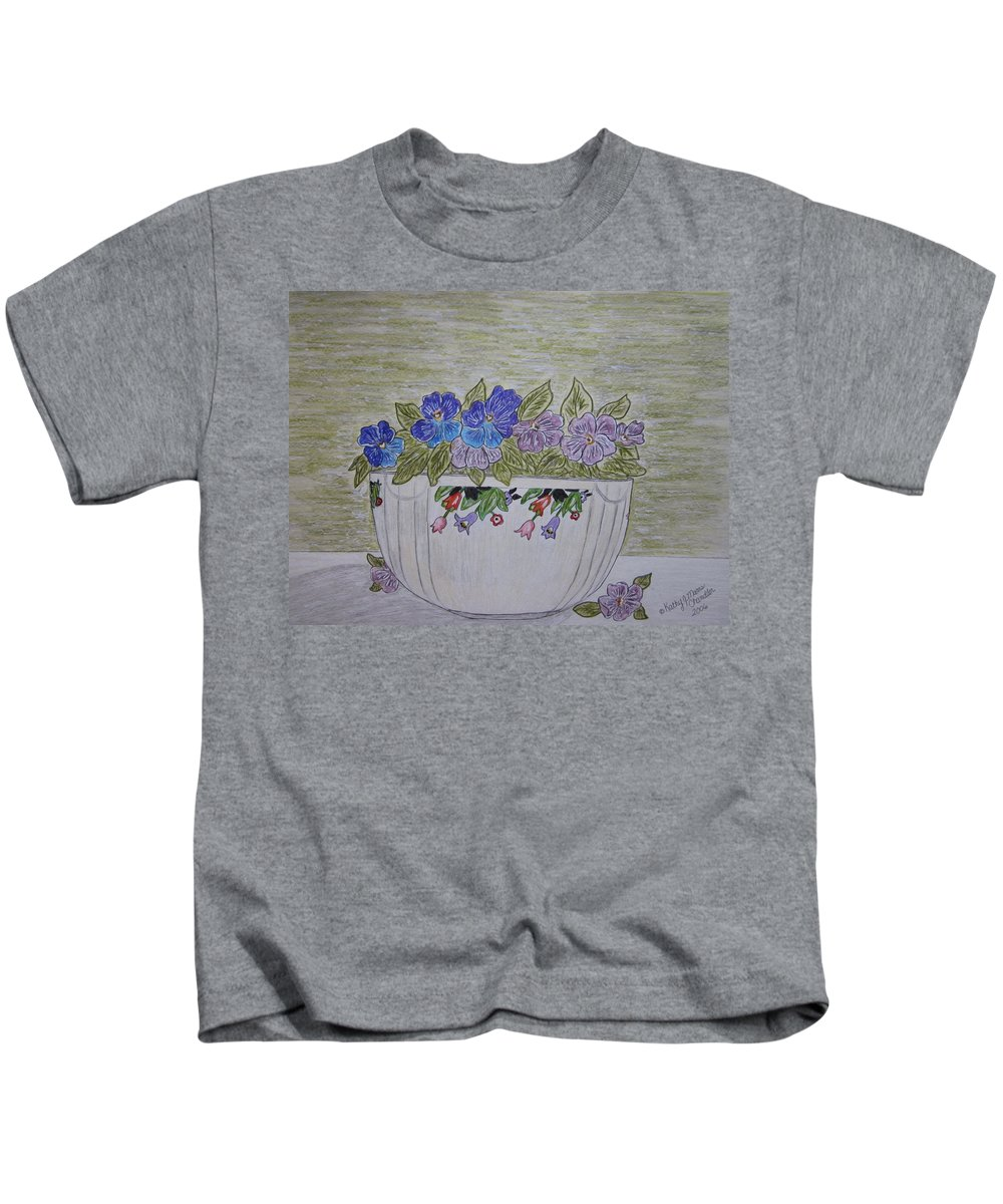 Hall China Kids T-Shirt featuring the painting Hall China Crocus Bowl With Violets by Kathy Marrs Chandler