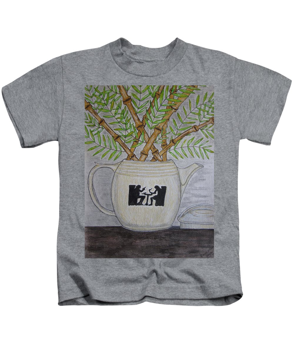 Hall China Kids T-Shirt featuring the painting Hall China Silhouette Pitcher With Bamboo by Kathy Marrs Chandler
