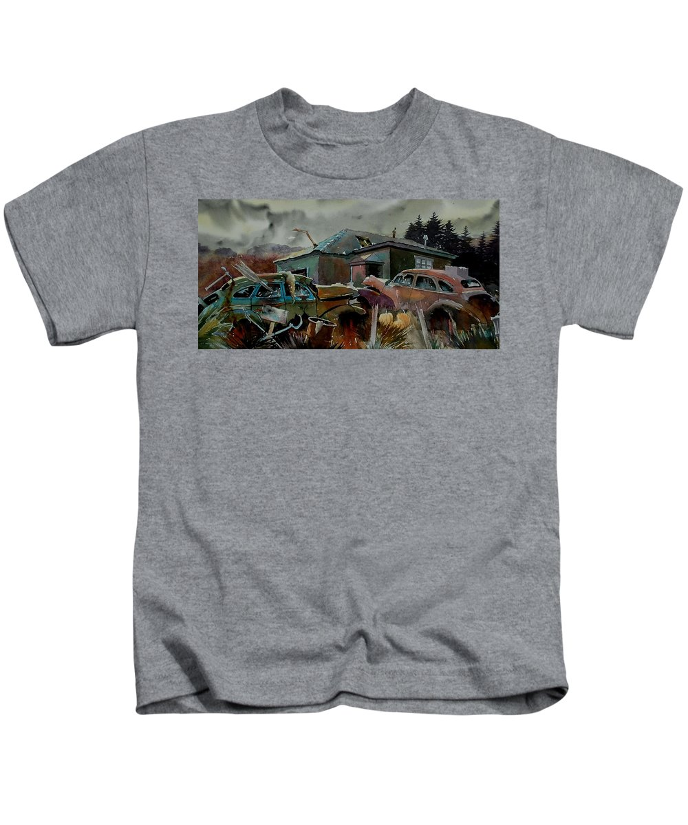 Cars Kids T-Shirt featuring the painting Halloween On The Hill by Ron Morrison