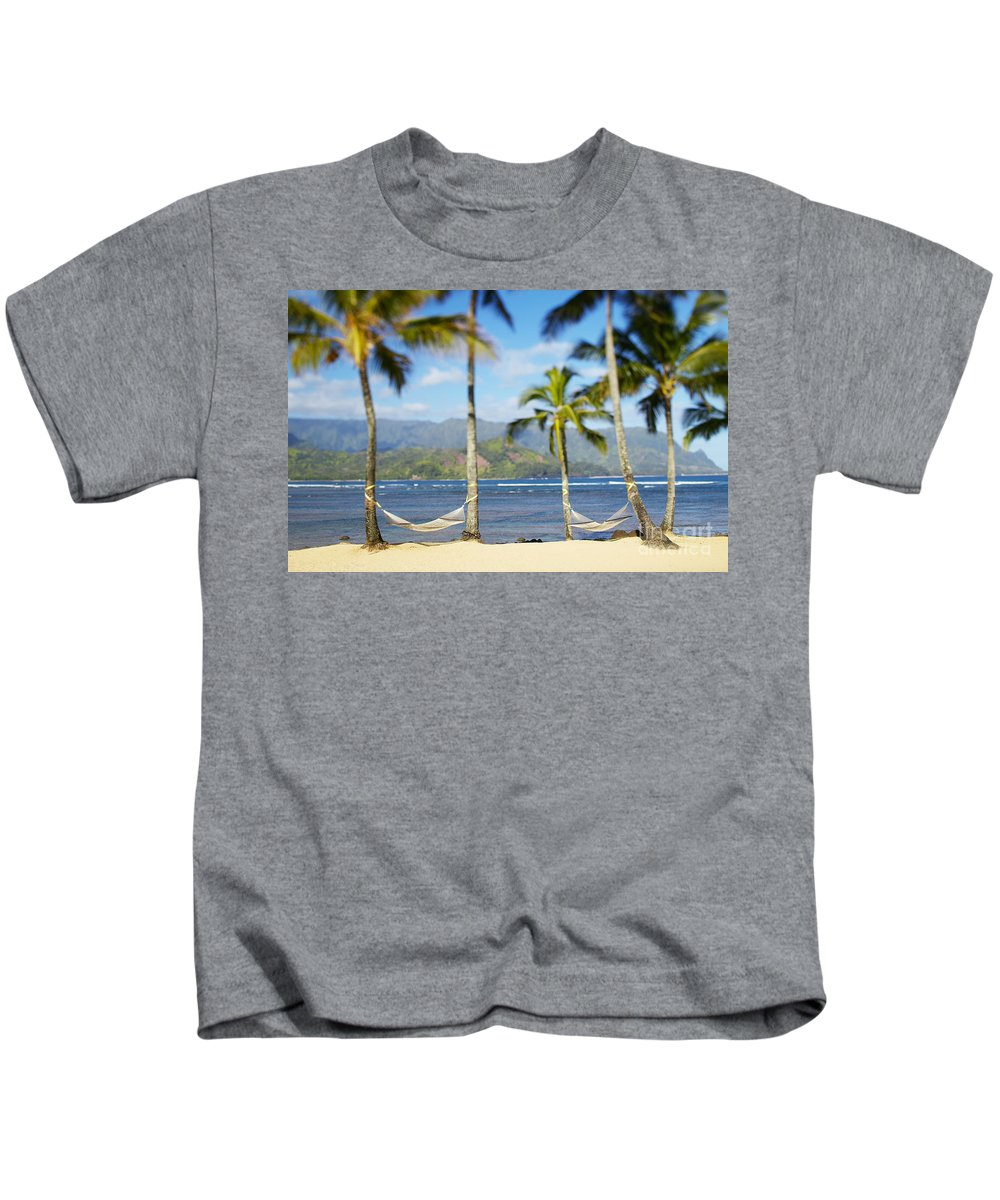 Bay Kids T-Shirt featuring the photograph Hanalei Bay, Hammock by Kyle Rothenborg - Printscapes