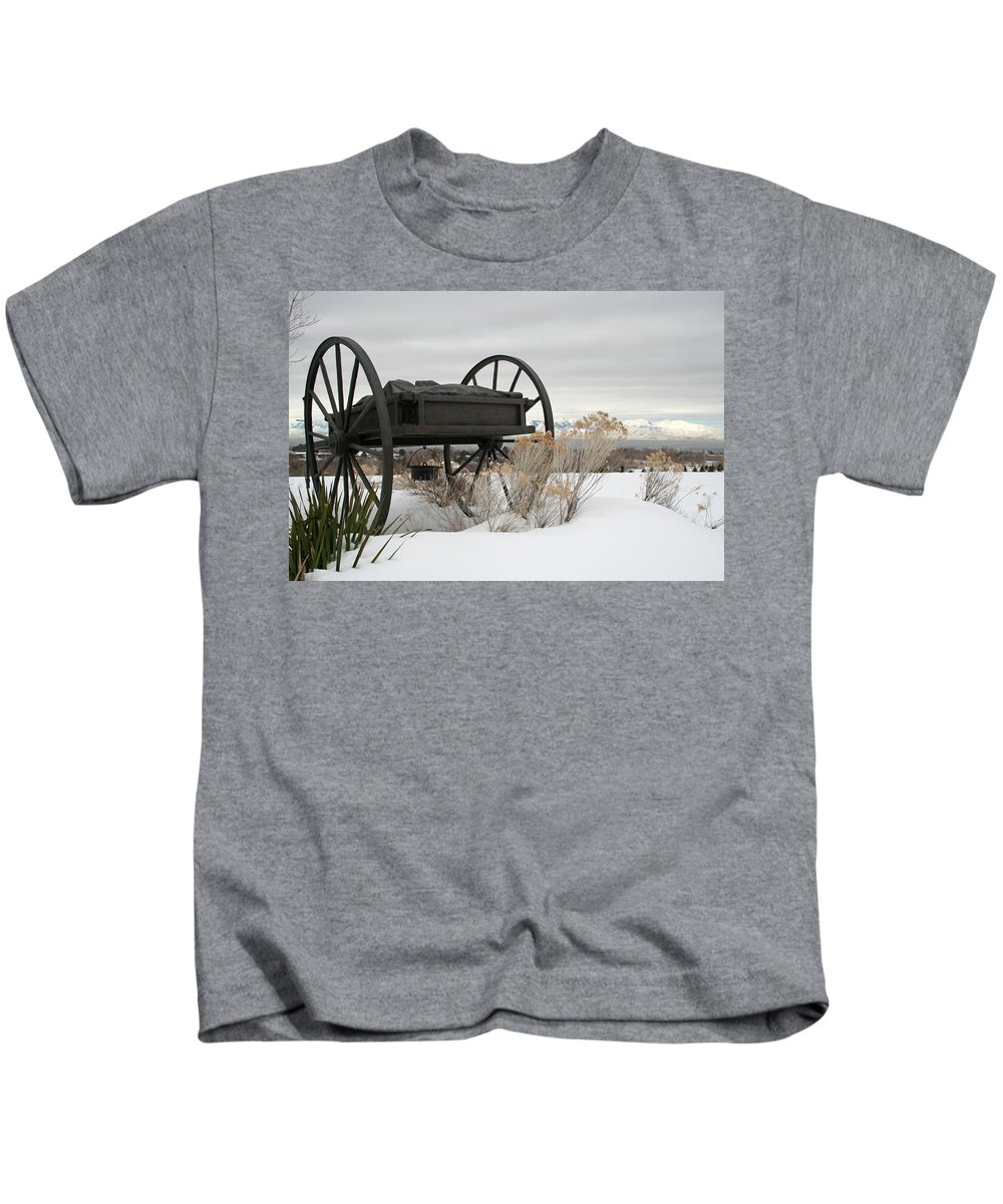 Handcart Kids T-Shirt featuring the photograph Handcart Monument by Margie Wildblood