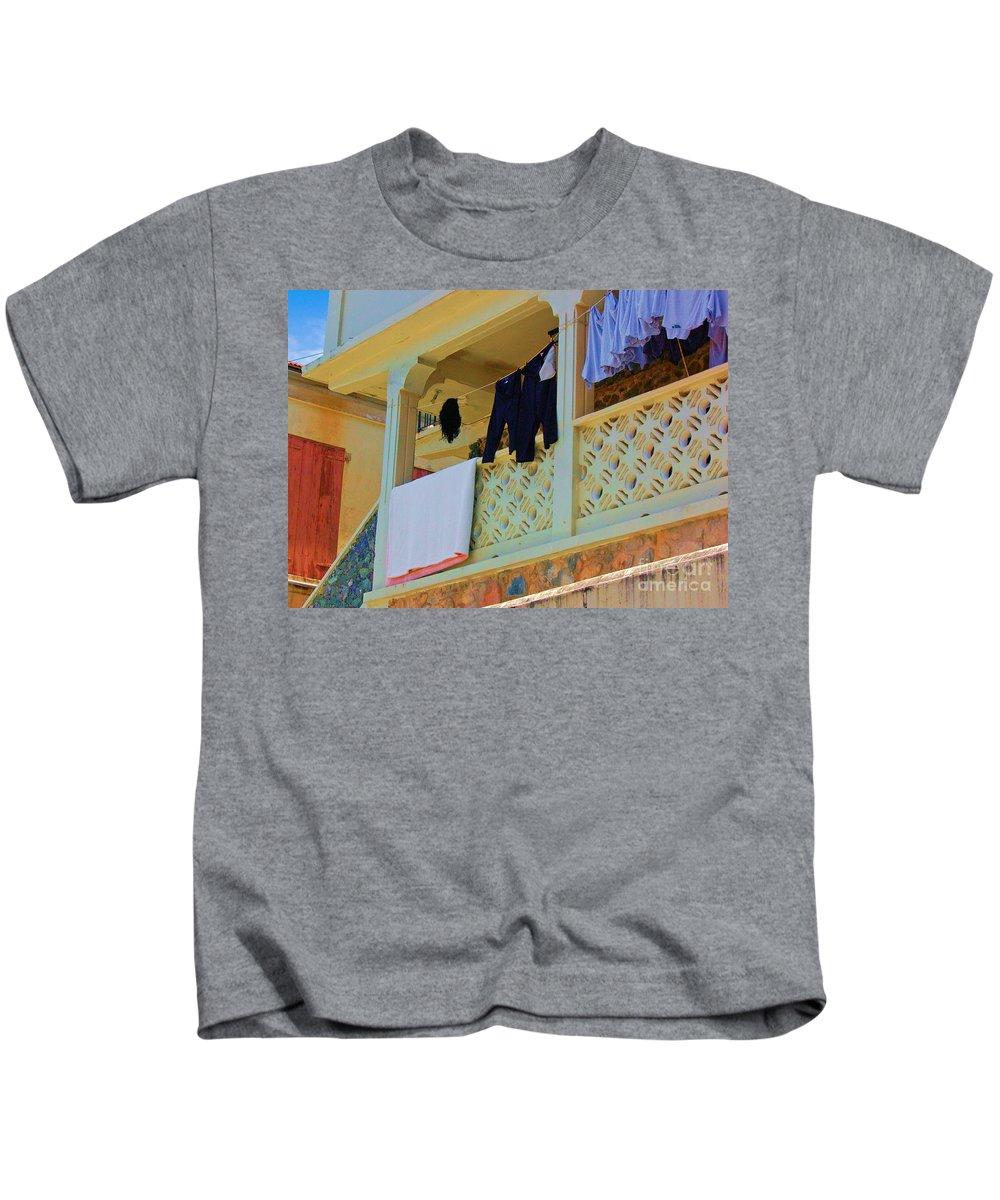 Laundry Kids T-Shirt featuring the photograph Hang Em High by Debbi Granruth