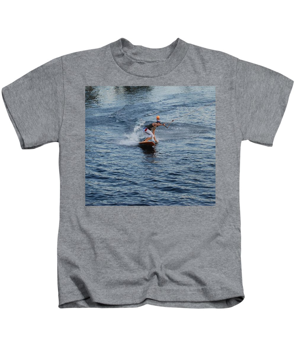 Waves Kids T-Shirt featuring the photograph Hanging 15 by Rob Hans