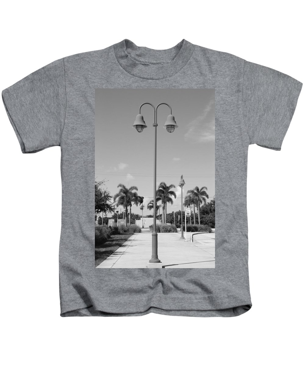 Black And White Kids T-Shirt featuring the photograph Hanging Lamps by Rob Hans