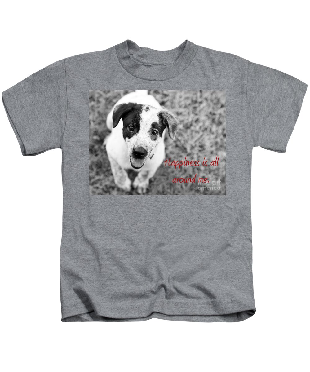 Puppy Kids T-Shirt featuring the photograph Happiness Is All Around Me by Amanda Barcon