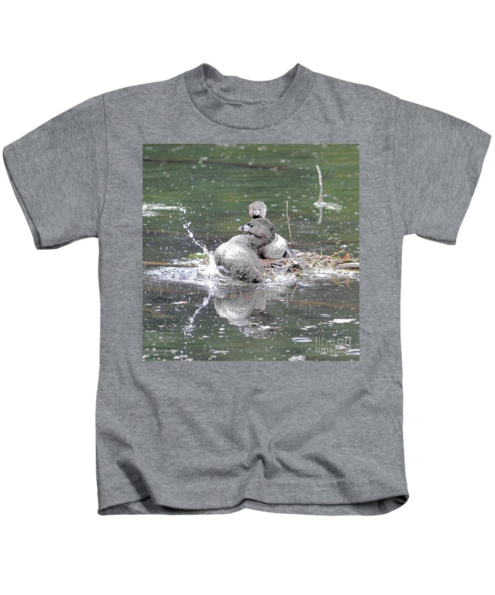 Grebe Kids T-Shirt featuring the photograph Happy Grebe Dance by Marland Howard