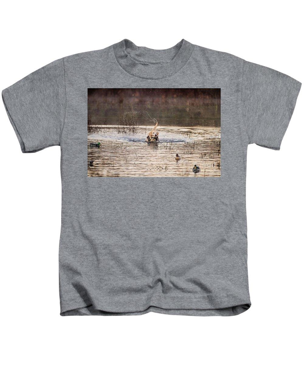 Retrieve Kids T-Shirt featuring the photograph Happy Retrieve by Scott Pellegrin