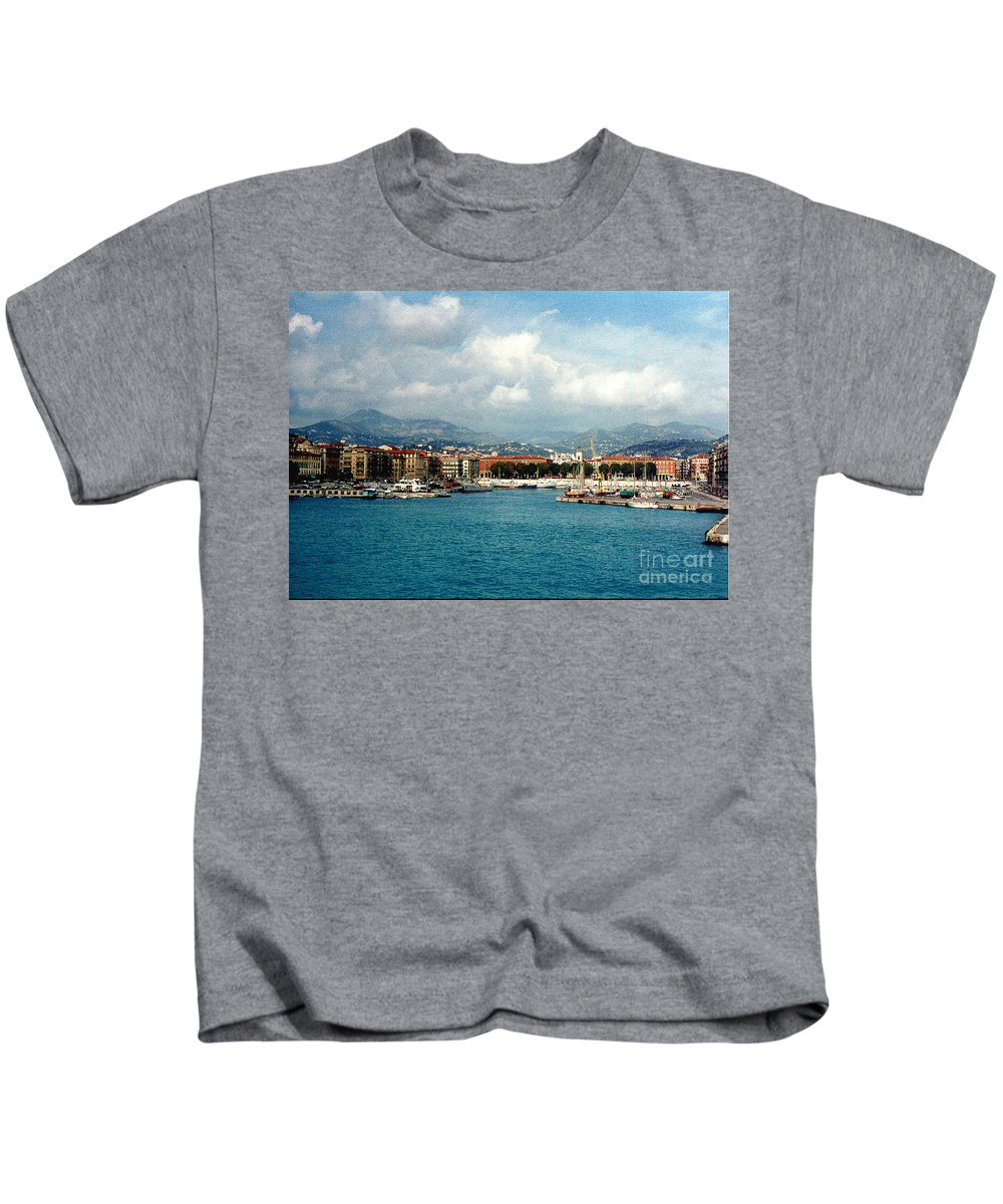 Landscape Kids T-Shirt featuring the photograph Harbor Scene In Nice France by Nancy Mueller