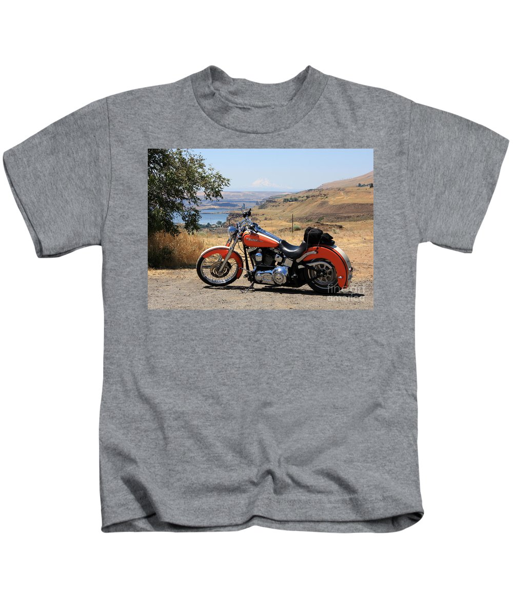 Washington State Kids T-Shirt featuring the photograph Harley With Columbia River And Mt Hood by Carol Groenen