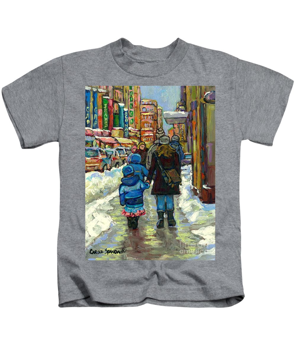 Original Montreal Paintings For Sale Kids T-Shirt featuring the painting Exceptional Canadian Artist Winter Scene Paintings Downtown Montreal Achetez Scenes De Quebec by Carole Spandau