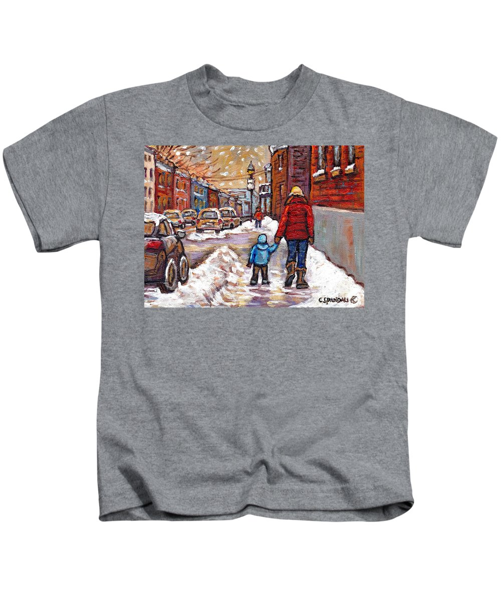 Canadian Artist Celebrates Montreal 375 Kids T-Shirt featuring the painting Original Montreal Street Scene Paintings For Sale Winter Walk After The Snowfall Best Canadian Art by Carole Spandau